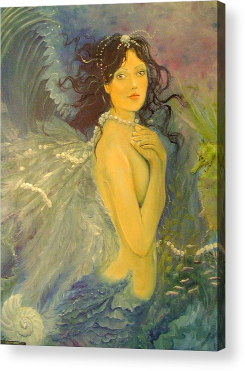 Mermaid Acrylic Print featuring the painting Wings by Victoria Maine