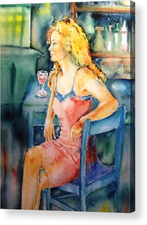 Woman Acrylic Print featuring the painting Woman Waiting by Trudi Doyle