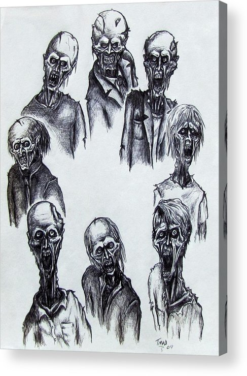 Michael Acrylic Print featuring the drawing Zombies by Michael TMAD Finney