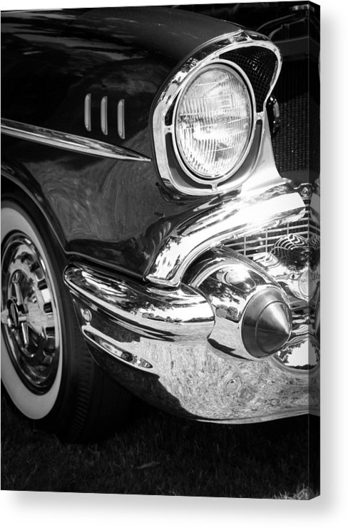 Black And White Acrylic Print featuring the photograph 57 Chevy Black by Steve McKinzie