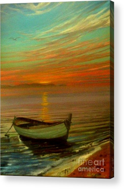 Sea Acrylic Print featuring the painting Barca Al Tramonto by Sandro Mulinacci