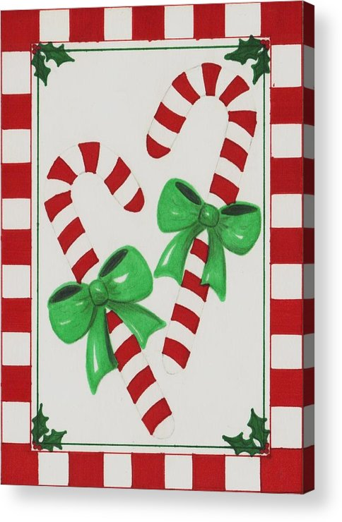 Candycanes Acrylic Print featuring the drawing Candy Canes by Jessica Hallberg