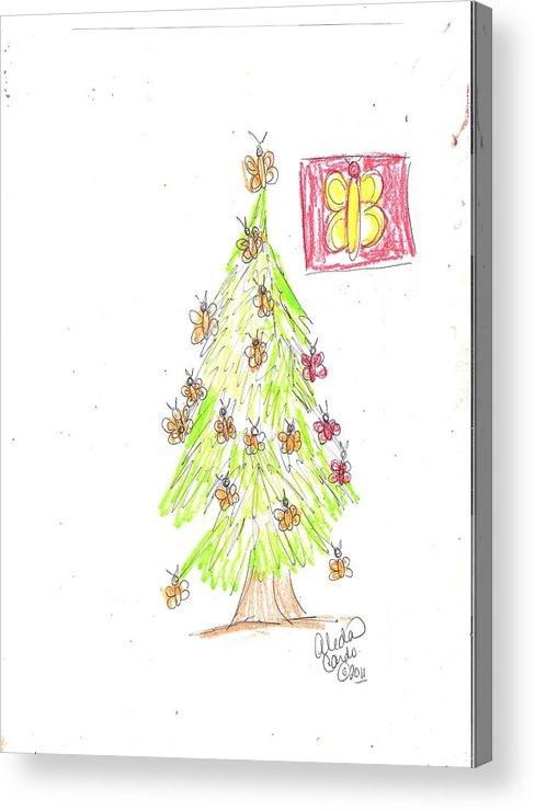 Acrylic Print featuring the drawing Christmas Dreams by Alida Cardo