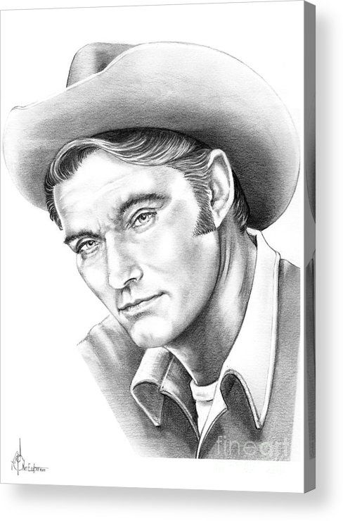 Drawing Acrylic Print featuring the drawing Chuck Conners-rifleman by Murphy Elliott
