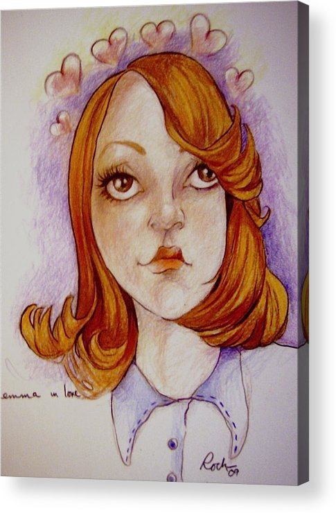 Glee Emma Love Hearts Acrylic Print featuring the drawing Emma In Love by Jackie Rock