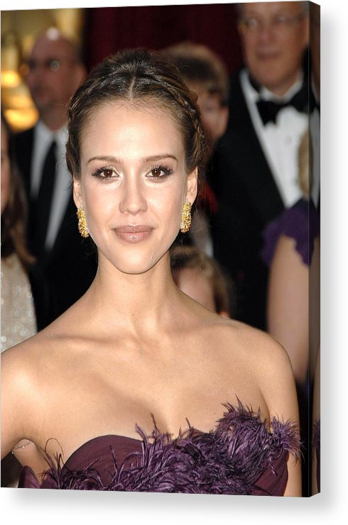 Part 2 - Red Carpet - 80th Annual Academy Awards Oscars Ceremony Acrylic Print featuring the photograph Jessica Alba Wearing Cartier Earrings by Everett