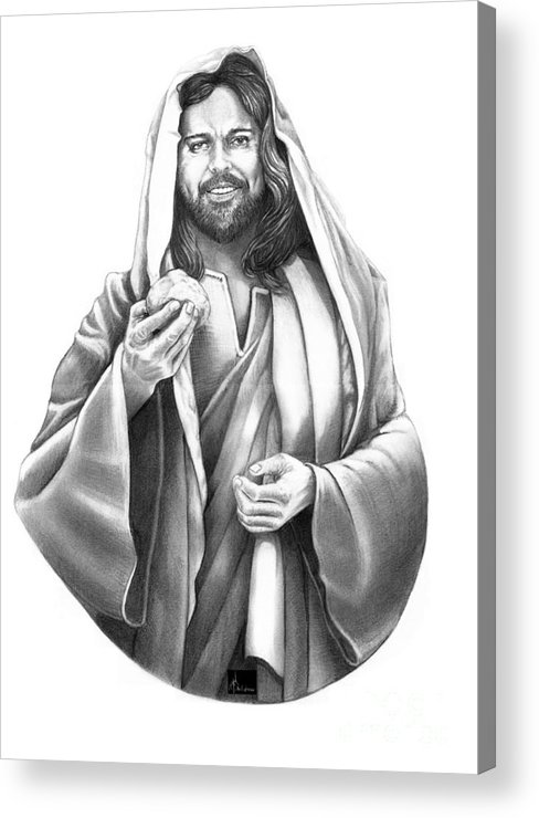 Drawing Acrylic Print featuring the drawing Jesus Christ by Murphy Elliott