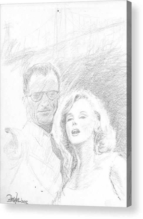 Figures Acrylic Print featuring the drawing Marylin Monroe And Arthur Miller by Horacio Prada