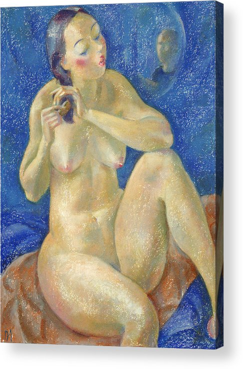 Nude Acrylic Print featuring the painting Nu 40 by Leonid Petrushin