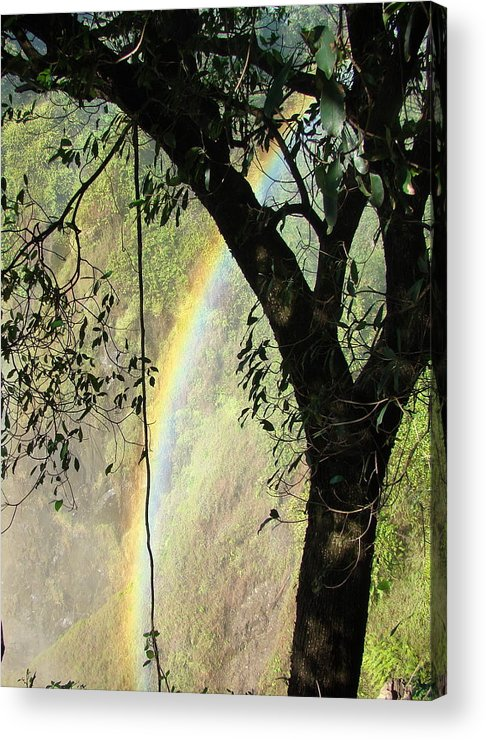 Rainbow Acrylic Print featuring the photograph Rainbow At Victoria Falls by Donna Barker