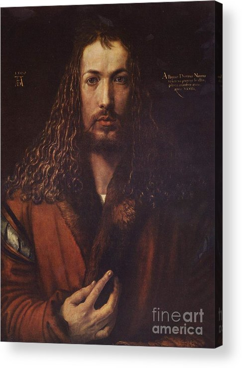 Pd Acrylic Print featuring the painting Self Portrait Durer by Pg Reproductions