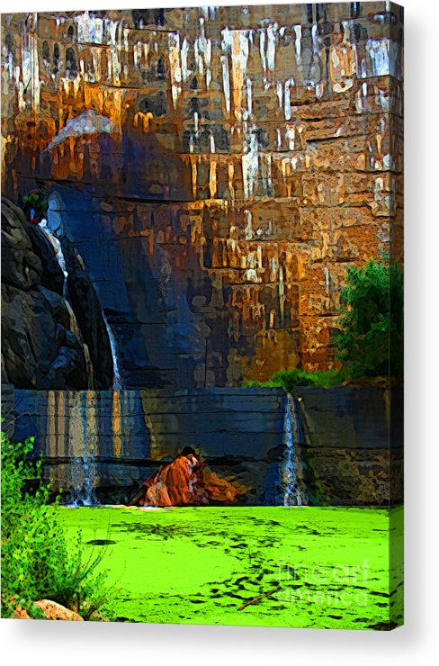 Waterfall Acrylic Print featuring the photograph Watson Lake Waterfall by Julie Lueders