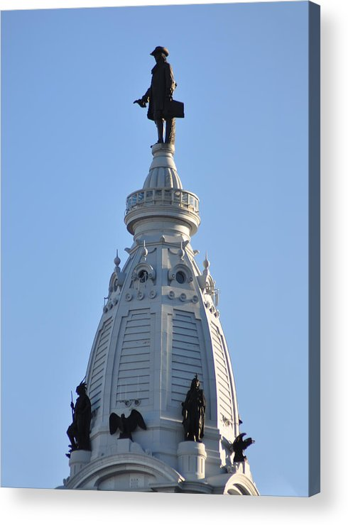 William Penn Acrylic Print featuring the photograph William Penn - On Top Of City Hall by Bill Cannon