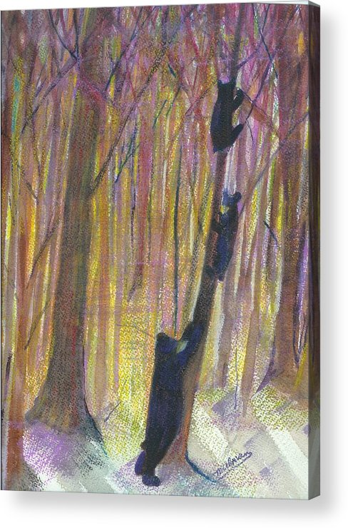Bears And Forest Lanscape Acrylic Print featuring the painting Worried Bear Mom by Margaret Ulman