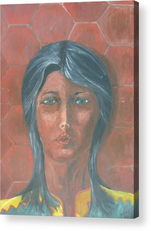 Indian Acrylic Print featuring the painting Young Indian Woman by John Terry