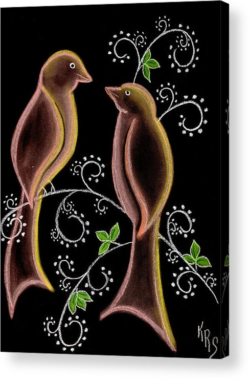 Bird Acrylic Print featuring the drawing Bird Doodle by Karen R Scoville