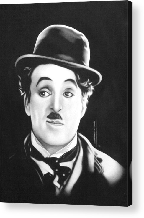 Portrait Painting Acrylic Print featuring the painting Charli Chaplin by Dharmesh Prajapati