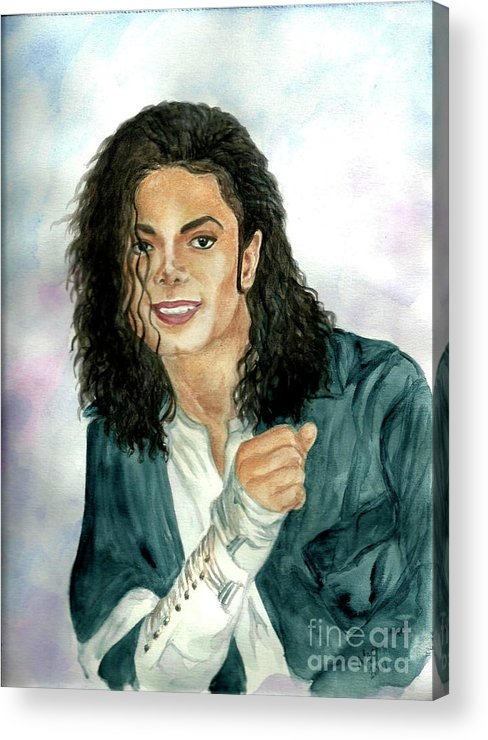 Michael Jackson Acrylic Print featuring the painting Michael Jackson - Will You Be There by Nicole Wang