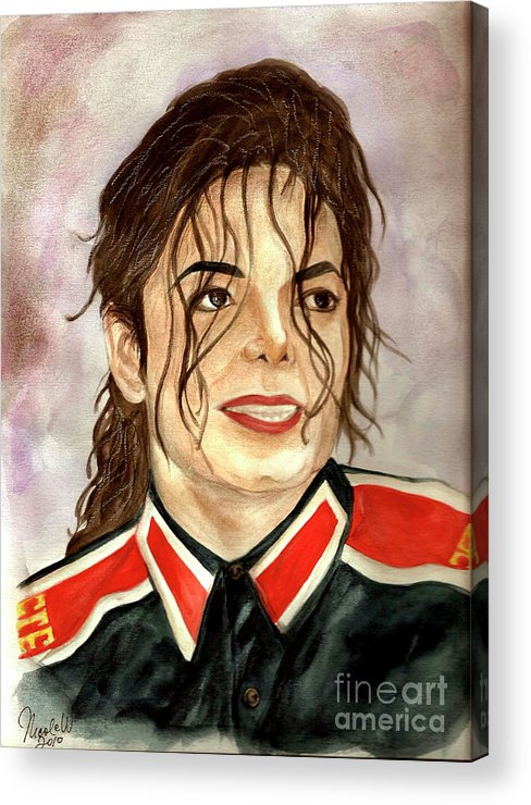 Michael Jackson Acrylic Print featuring the painting Michael Jackson - You Are My Life by Nicole Wang