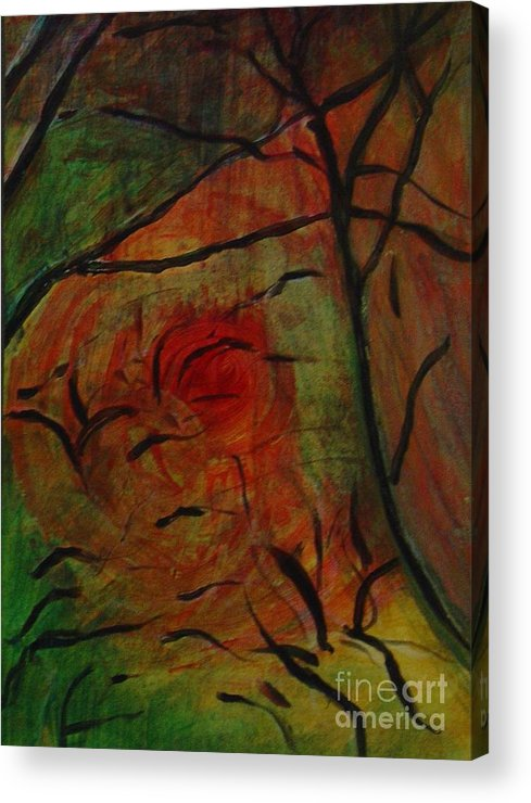 Abstract Fantasy Landscape Original Painting Acrylic Print featuring the painting Orange Dawn by Leila Atkinson