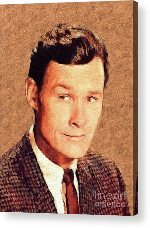 Ron Acrylic Print featuring the painting Ron Hayes, Vintage Actor by John Springfield