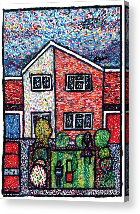 Suburbia Acrylic Print featuring the drawing Aliens Mowed My Lawn by Andy Mercer