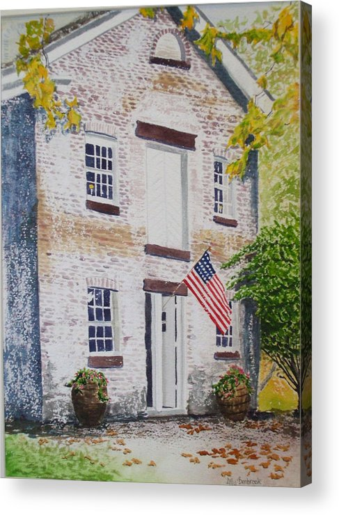 Old Buildings Acrylic Print featuring the painting Allaire Carpenter Shop by Ally Benbrook
