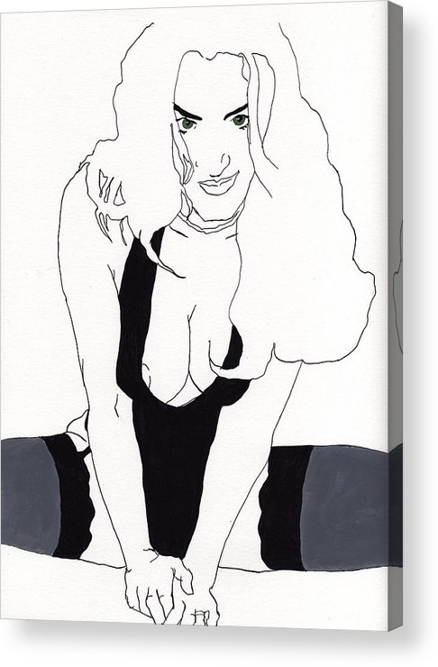 Portrait Acrylic Print featuring the drawing Anna-black Stockings by Stephen Panoushek