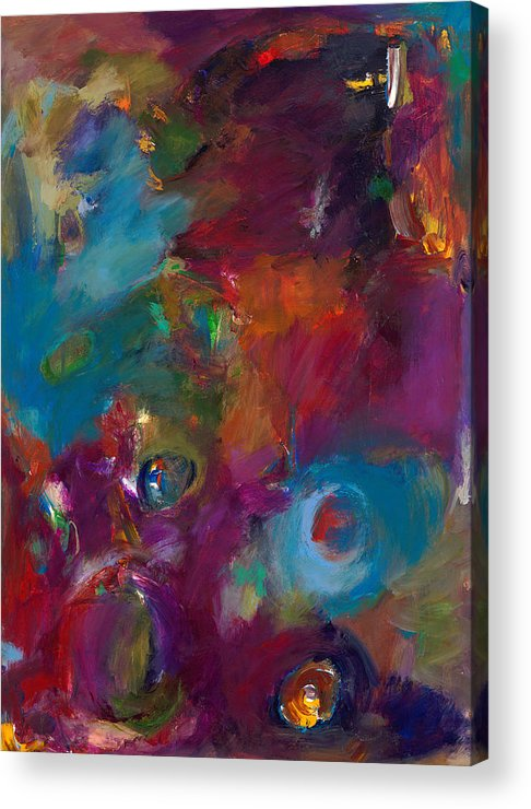 Abstract Expressionistic Artwork Acrylic Print featuring the painting Aubergine Mist by Johnathan Harris