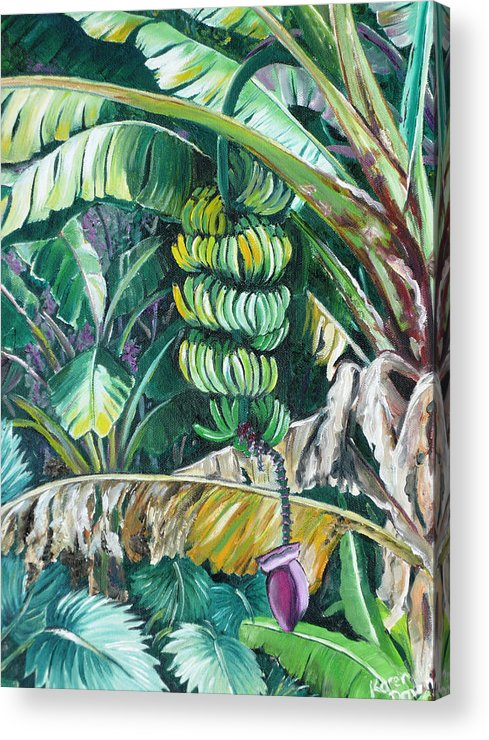 Caribbean Painting Bananas Trees P Painting Fruit Painting Tropical Painting Acrylic Print featuring the painting Bananas by Karin Dawn Kelshall- Best