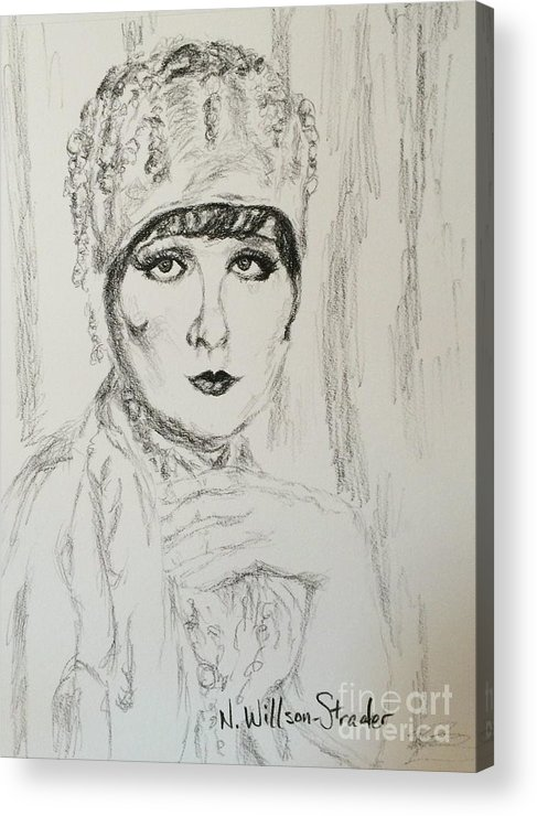 Beaded Chapeau Acrylic Print featuring the drawing Beaded Chapeau by N Willson-Strader