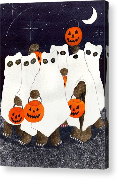 Halloween Acrylic Print featuring the painting Bear's Freebie Night by Catherine G McElroy