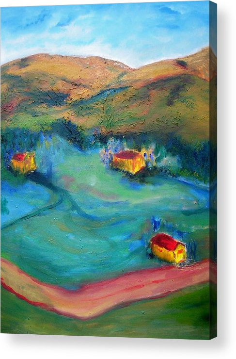 Landscape Acrylic Print featuring the painting Beit Shemesh by Suzanne Udell Levinger