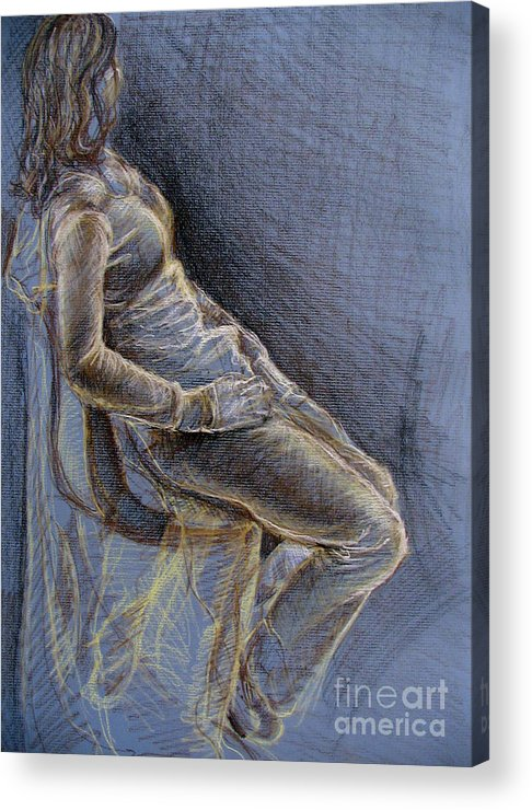Figure Acrylic Print featuring the drawing Blue by Iglika Milcheva-Godfrey