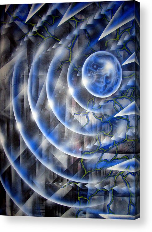 Paint Acrylic Print featuring the painting Blue Moon Falling by Leigh Odom