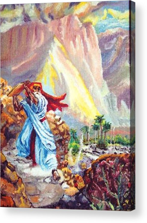 Mountains Acrylic Print featuring the painting Breaking Of The Commandments by Gloria M Apfel
