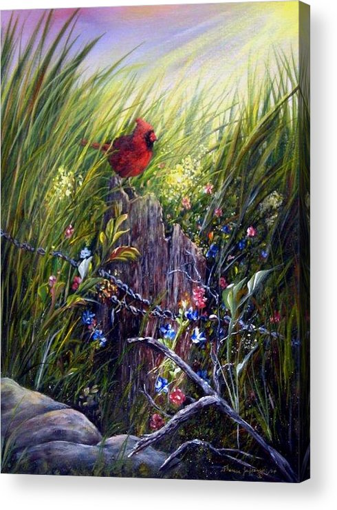 Cardinal Acrylic Print featuring the painting Cardinal by Theresa Jefferson