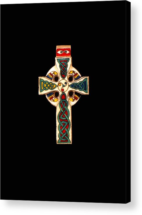 Scrimshaw Acrylic Print featuring the jewelry Celtic Cross by Thomas Burke