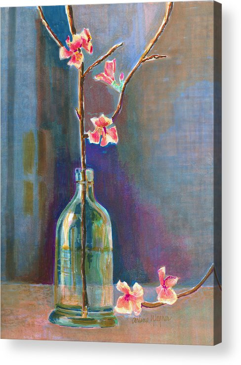 Flower Acrylic Print featuring the painting Cherry Blossoms In A Bottle by Arline Wagner