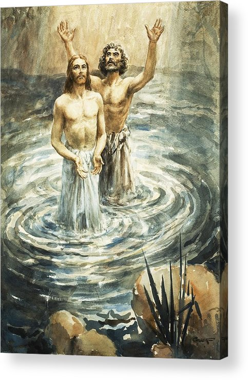 Christ; Jesus; Bible; John The Baptist; Water; Ripples Acrylic Print featuring the painting Christ Being Baptised by Henry Coller