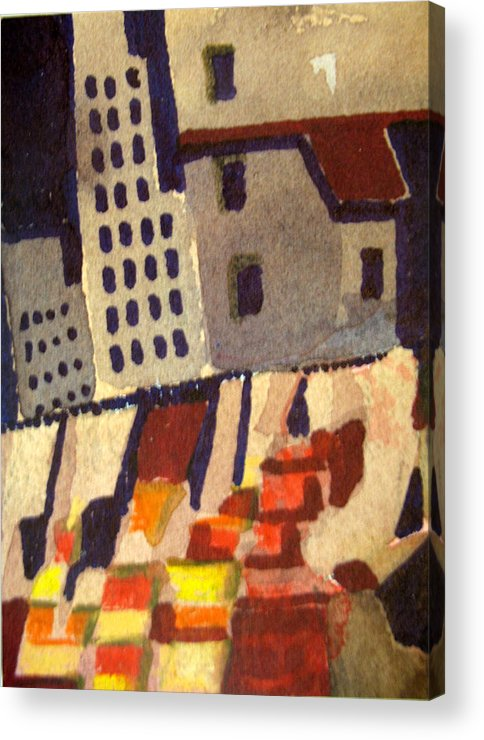 Aceo Acrylic Print featuring the painting City In Collapse by Bill Meeker