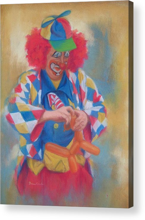 Clown Acrylic Print featuring the painting Clown Making Balloon Animals by Diane Caudle