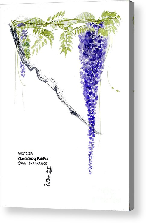 Wisteria Acrylic Print featuring the painting Clusters Of Purple by Sibby S