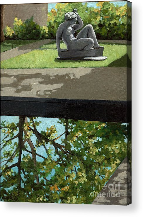 Landscape Painting Acrylic Print featuring the painting Contemplation by Linda Apple
