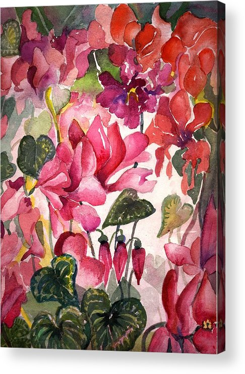 Cyclamen Acrylic Print featuring the painting Cyclamen by Mindy Newman
