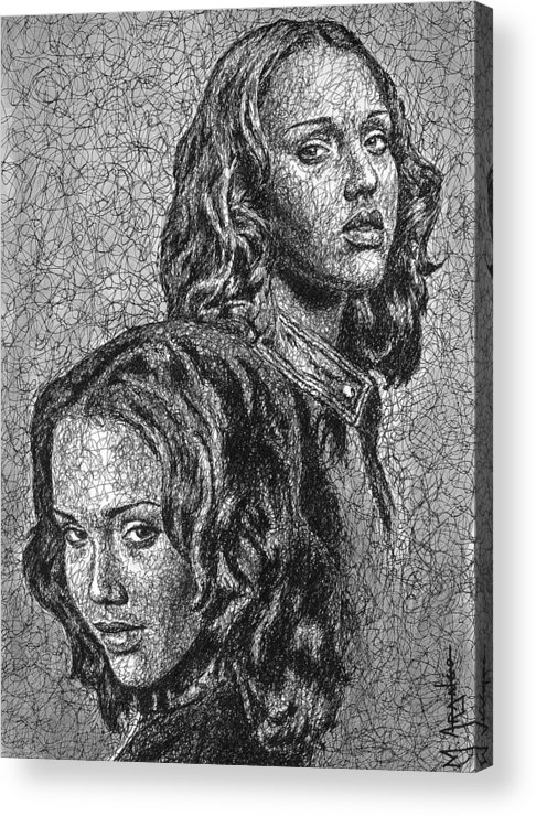 Dark Angel Acrylic Print featuring the drawing Dark Angel by Maria Arango