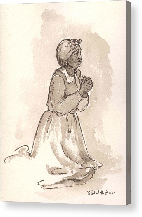 Female Acrylic Print featuring the painting Dear God... by Barbel Amos