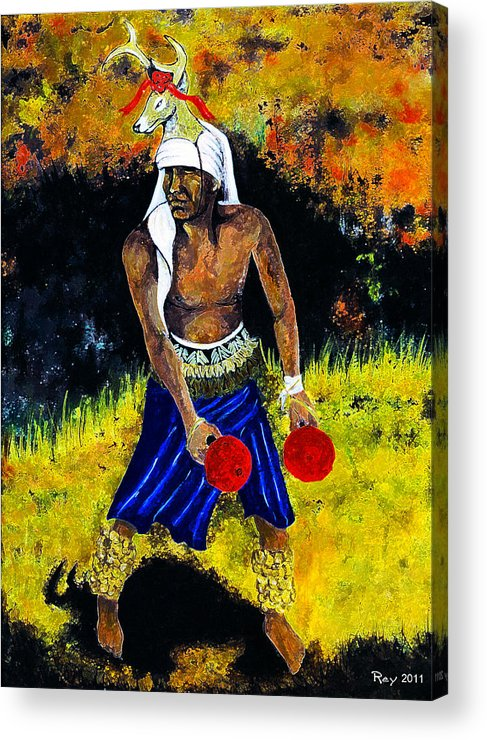 Pics Acrylic Print featuring the painting Deer Dancer by Ray Obregon