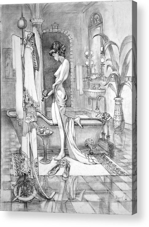 Llady In Her Bath. Acrylic Print featuring the drawing Deserved The Drawing by Bob Duncan