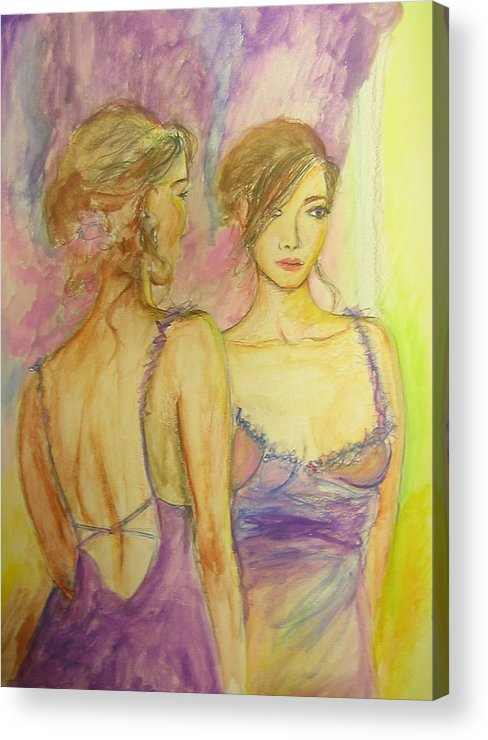 Feminine Acrylic Print featuring the painting Distracted by Lizzy Forrester